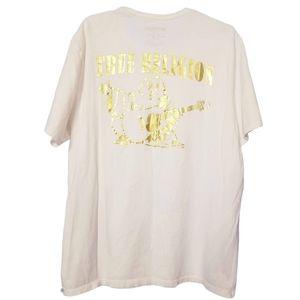 True Religion Gold and White Logo Shirt